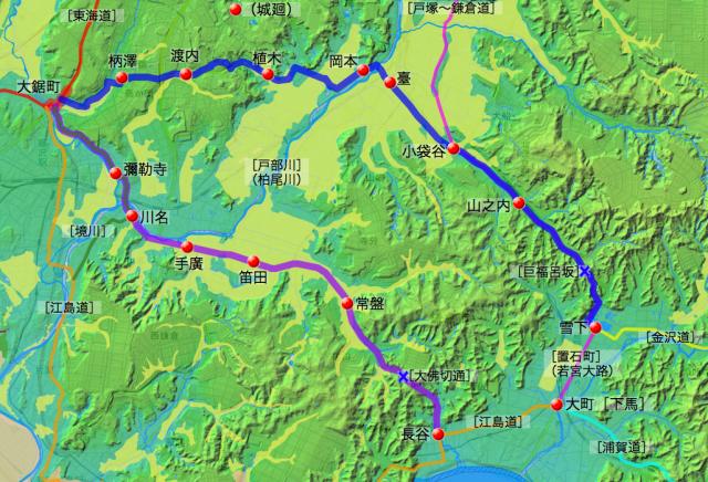 藤沢〜鎌倉間の2つの継立道:各村の位置