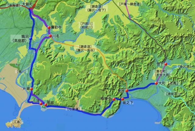 江島道:鎌倉郡中の各村の位置