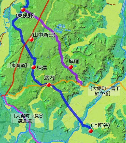 鎌倉古道㈡の概略の道筋と各村の位置