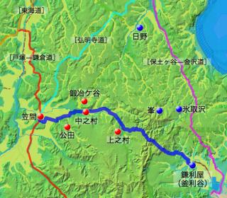 鎌倉道㈣に記された脇道の各村の位置と戸塚—金澤の道