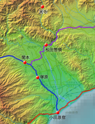 大寺村〜小田原宿の炭の搬送ルート(推定)