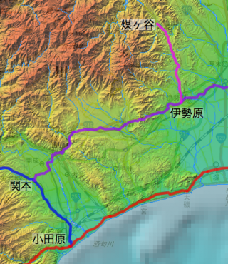 煤ヶ谷から小田原までの道筋(概念図)