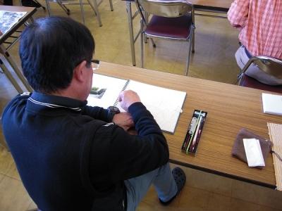 水彩画を描く受講生さん