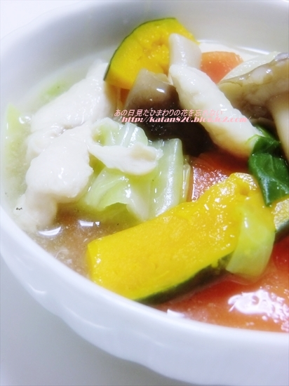鶏ささ身と野菜のとろみスープ♪