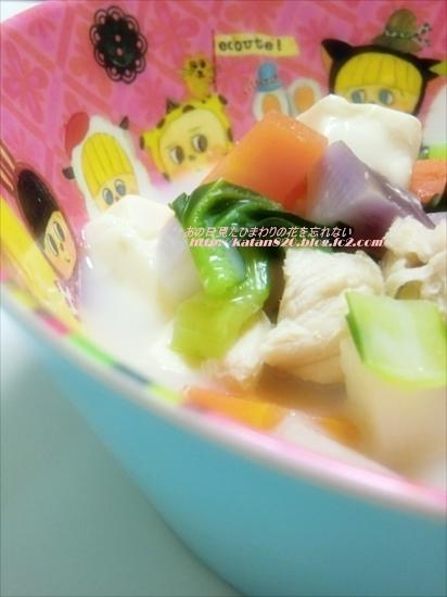 鶏ささ身とターサイと豆腐のスープ♪