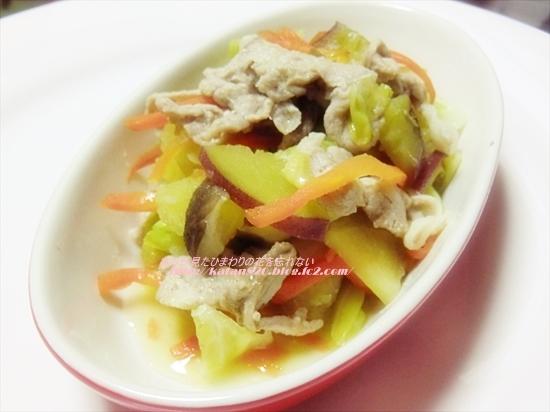 豚肉と野菜のノンオイル蒸し炒め♪