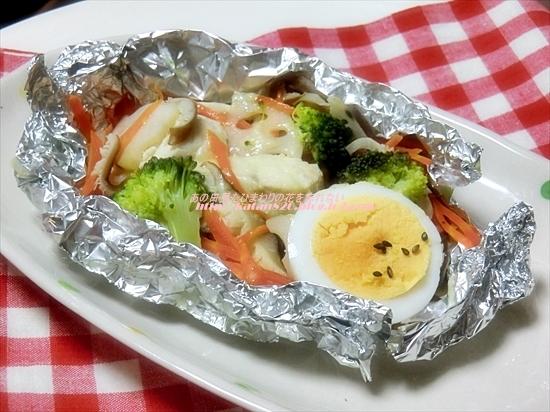 鶏ささ身と野菜のホイル焼き♪