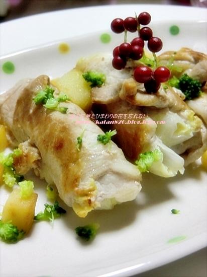 白菜とりんごの豚肉巻♪