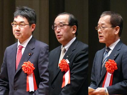 来賓挨拶(左より河井氏 松井氏、中下氏)