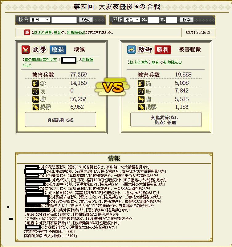 28 3月11日大友家攻撃戦戦闘記録~防御