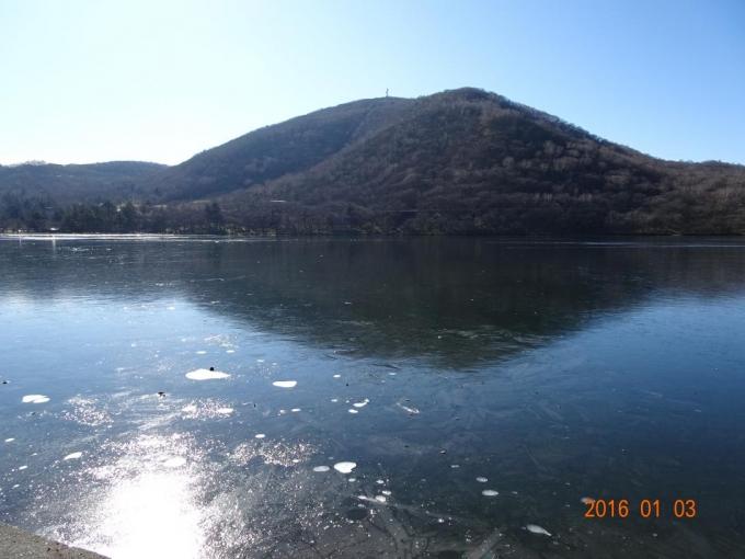 大沼は薄氷
