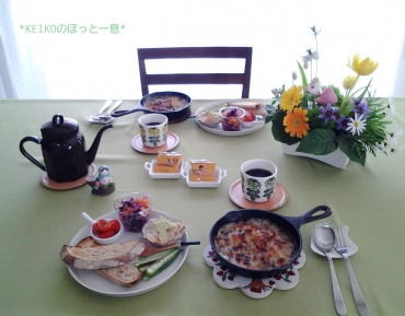 スキレットでおっしゃれーな朝食