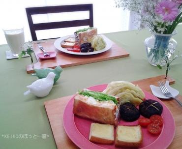 海老タマサンドに新鮮野菜