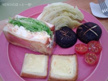 海老タマサンドに新鮮野菜2