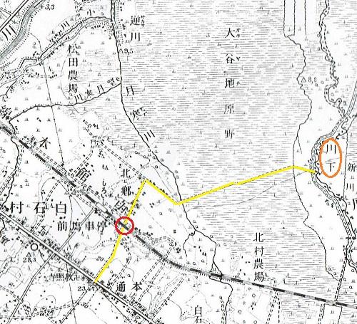 大正5年地形図 白石駅周辺