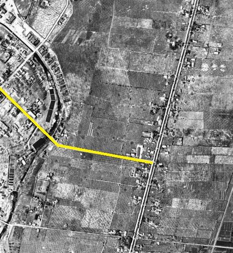 1946年航空写真 白石中の島通り