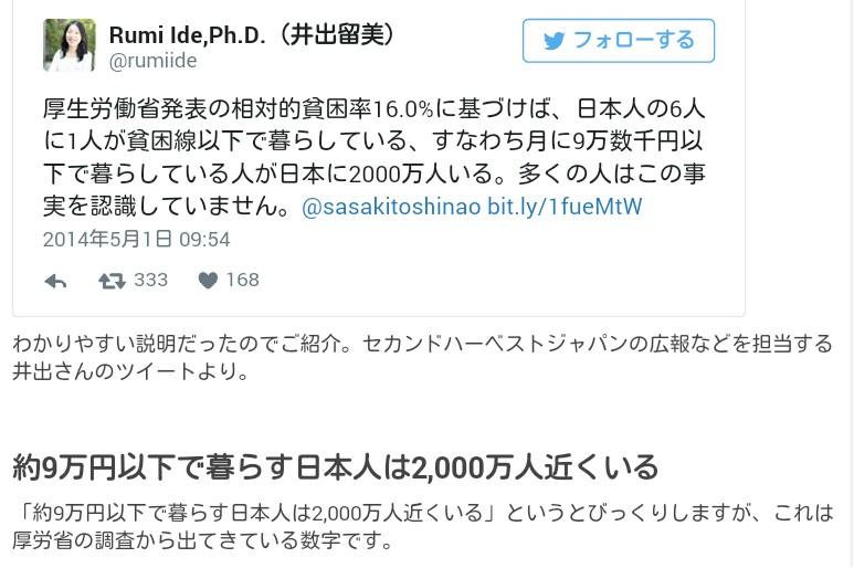 月9万円以下で暮らす日本人が2,000万人いる「相対的貧困率」16%!子供の貧困、厚生労働省データ…