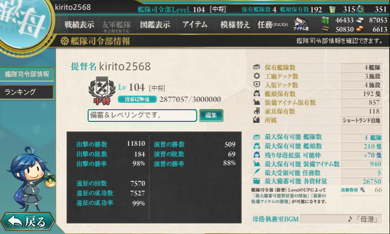 艦これ 3月29日艦隊運営報告書その1