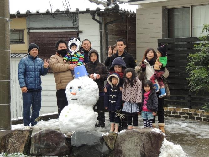 雪だるま 記念撮影