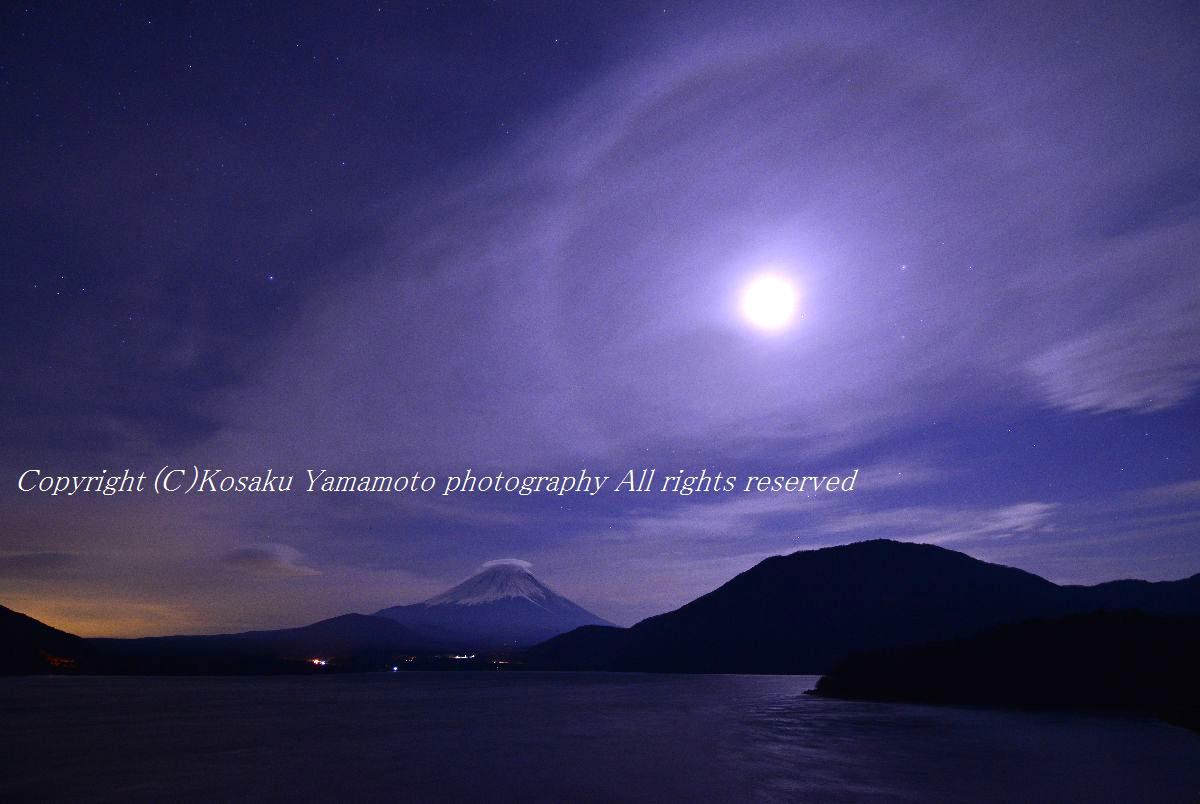 「月暈(つきがさ)」 (本栖湖)