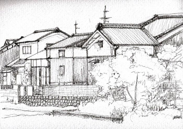 京田辺の街角 デッサン (700x494)
