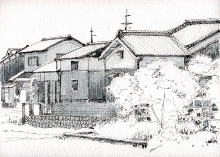 京田辺の街角 グリザイユ (700x501)