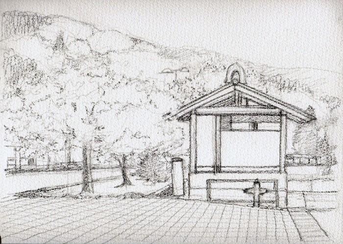 勝央町の桜 デッサン (700x499)