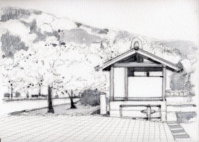勝央町の桜 グリザイユ (700x499)
