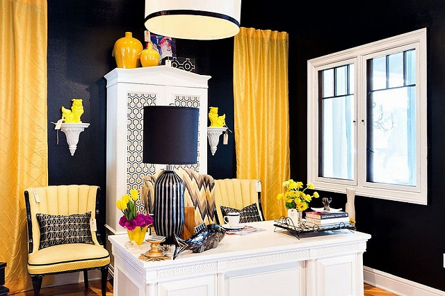 Custom-crafted-drapes-and-chairs-a-dd-a-colorful-punch-to-the-black-and-white-home-office.jpg