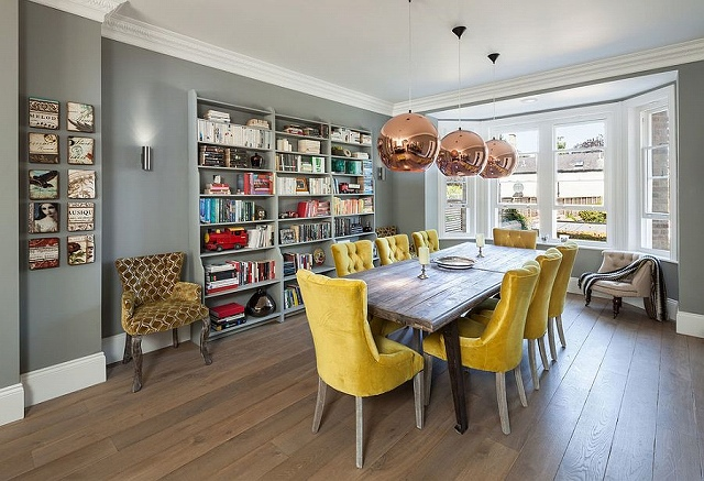 Tom-Dixon-pendant-lights-add-copper-glint-to-the-gray-and-yellow-dining-room.jpg