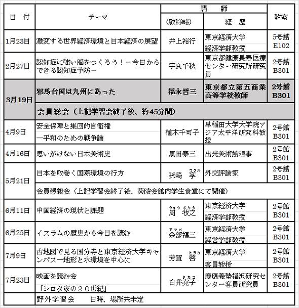 3月会報学習会スケデュール