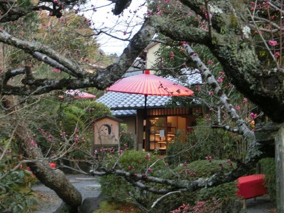 赤い傘に床机がいかにも京都らしい風情