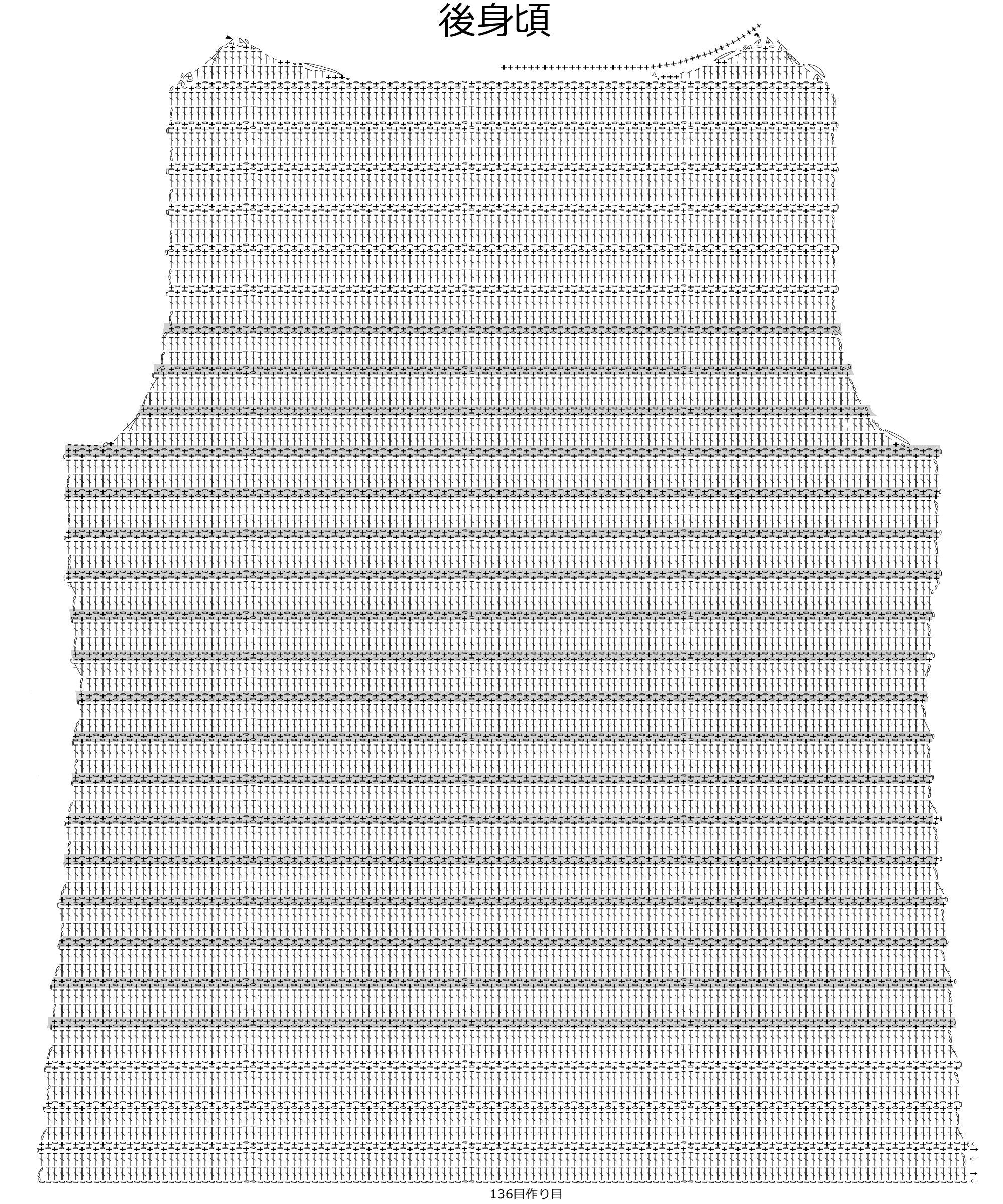 ボーダープルオーバー編み図B