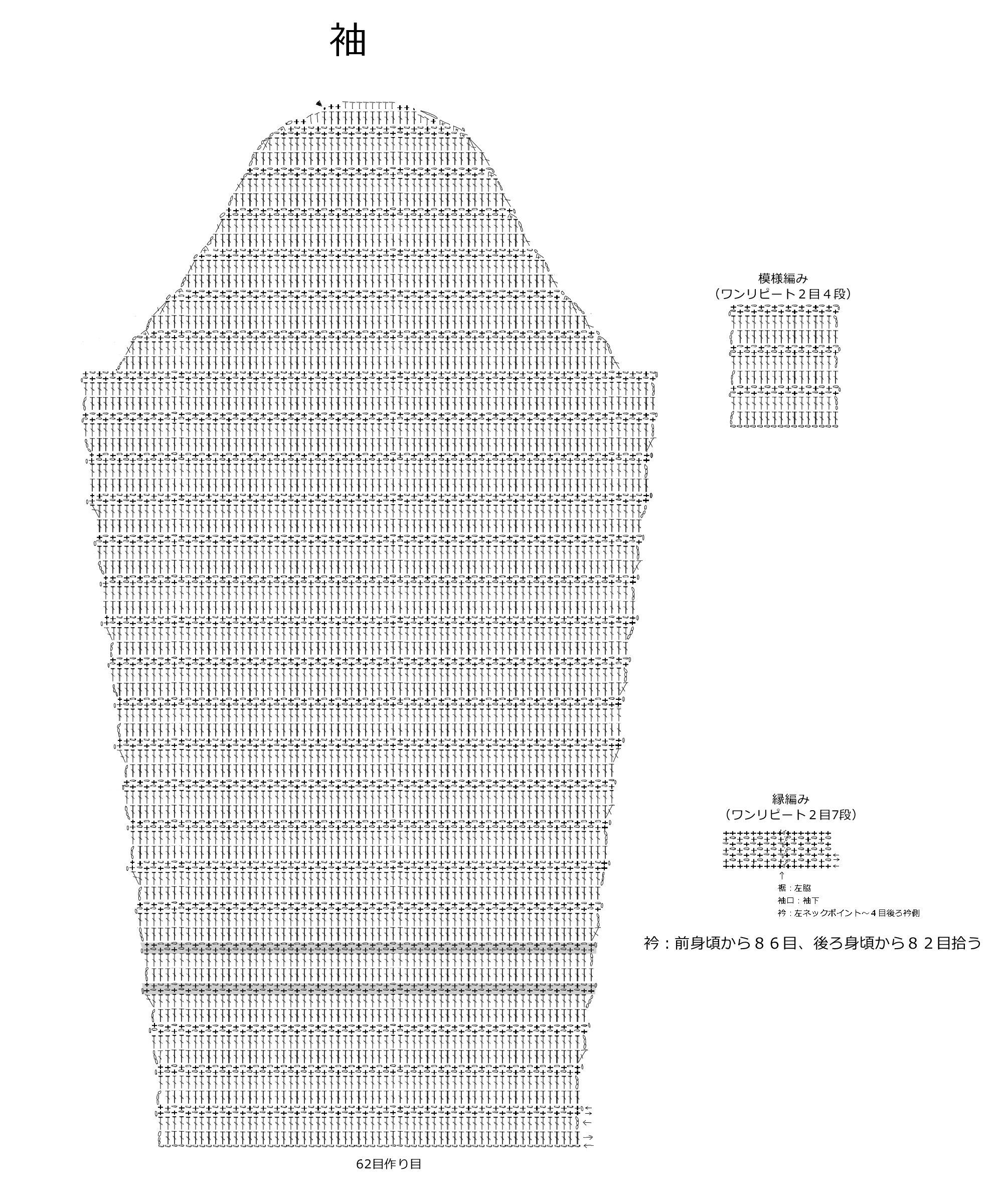 ボーダープルオーバー編み図S