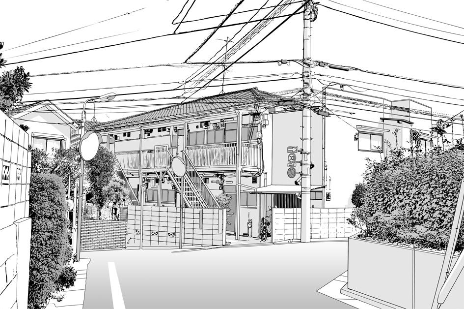 漫画背景・アパート009