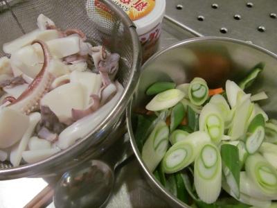 ヤリイカと野菜の下拵え1