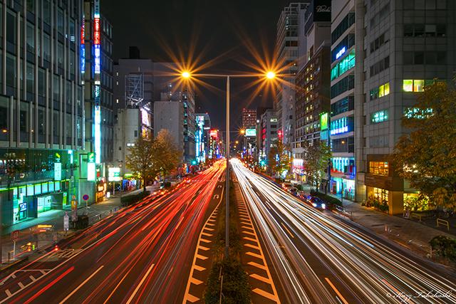 青山通り-夜景