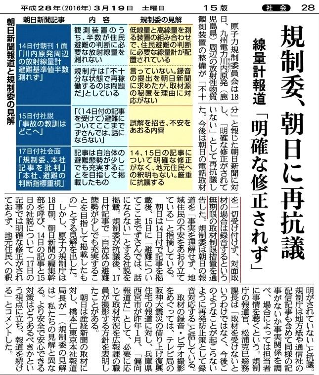 3月19日 産経 規制委、朝日に再抗議