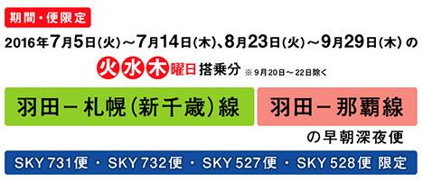那覇・札幌線が6,000円~!スカイマークも羽田-札幌・沖縄線に深夜便!