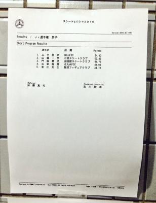2016スケート広島Jr男子SP
