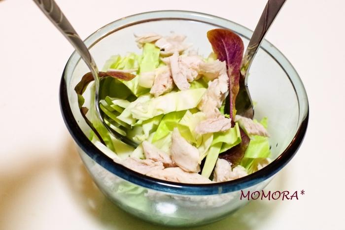 キャベツと鶏胸肉のサラダ手順 (2)