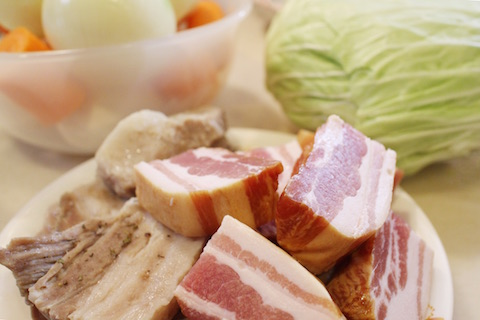 豚バラロースとスモークベーコンと野菜