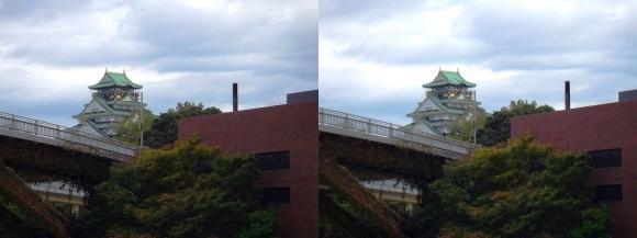 大坂橋と大阪城天守閣(平行法)