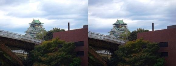 大坂橋と大阪城天守閣(交差法)