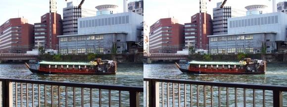 南天満公園からの屋形船(平行法)