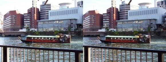 南天満公園からの屋形船(交差法)