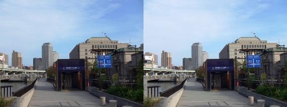 堂島川沿い遊歩道 京阪電車 大江橋駅(平行法)