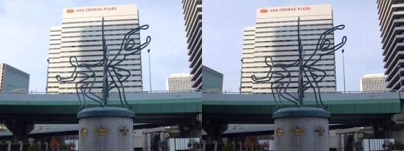 中之島ガーデンブリッジからのANAクラウンプラザホテル大阪(交差法)