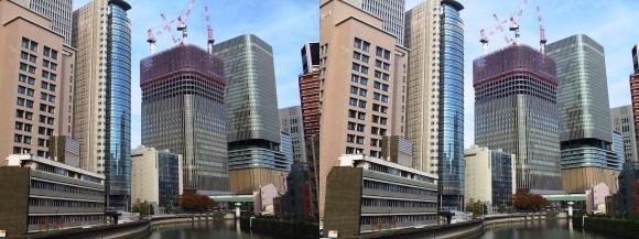 筑前橋からの大阪・中之島プロジェクト(平行法)