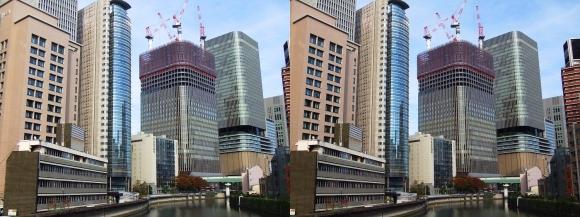 筑前橋からの大阪・中之島プロジェクト(交差法)